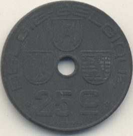 België KM132 25 Centimen 1943
