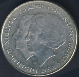 Nikkel 1 Gulden 1980 Dubbele kop