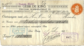 Nederland, Den Haag, Gebr. De Jong, Nota, 1923