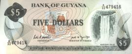 Guyana P22 5 Dollars 1966 (No Date)