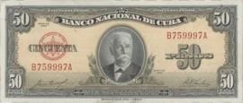 Cuba P81.b 50 Pesos 1950-60