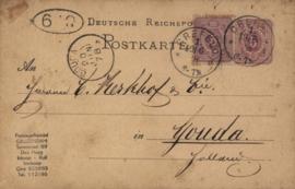 Nederland, Gouda, Deutsche Post, Postkarte 1878