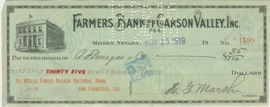 California, Farmers Bank of Carson Valley, Inc., Wells Fargo National Bank San Fransisco. 1919