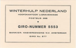Winterhulp - A6 informatiekaartje ±1940 Not Listed.
