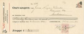 Nederland, Amsterdam, Kwitantie, Belau, 1926