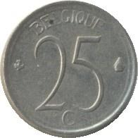 Belgique KM153.1 25 Centimes 1964-1975