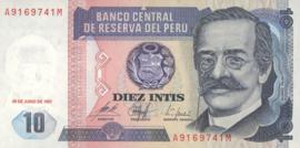 Peru  P129 10 Intis 1987