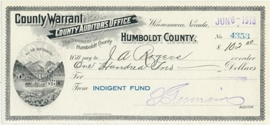 Nevada, Humboldt County Warrant, Indegent Fund, Winnemucca. 1919