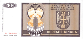 Bosnië-Herzegovina P133.a 10 Dinara 1992