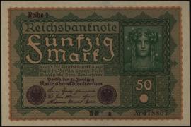 Deutsches Reich 50 Mark 1919 Reihe 1 DEU-71a, Ros.062.a