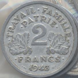 Frankrijk #KM904.1 2 Francs 1943 Vichy