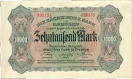 Sächsische Bank zu Dresden  10.000 Mark 1923 Ros.SAX13