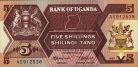 Oeganda P27 5 Shillings 1987