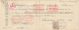 Nederland, Amsterdam, Kwitantie, Twentse Bankvereniging B.W. Blijdenstein & Co., 1909