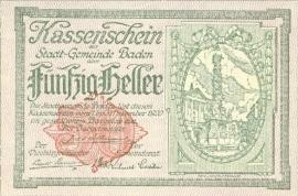 Oostenrijk - Noodgeld - Baden KK74.a 50 Heller 1920