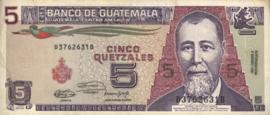 Guatemala P74.b 5 Quetzales 1990-92