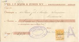 Nederland, Alkmaar, Kwitantie, Wed. J.P. Boom & Zonen N.V., 1956