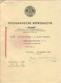 Nederland, Rotterdam, Fotografische Reproductie inschrijving 1937