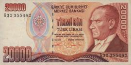 Turkije P202 20.000 Lira 1995 (1970)