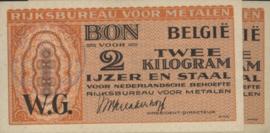 België - Rijksburo voor Metalen  2 Kilogram Ijzer en Staal 1945