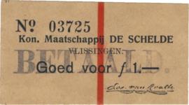 """PL995.1 Vlissingen, Maatschappij """"De Schelde"""", 1 Gulden 1914, XF++"""