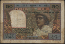 Madagascar P61 50 Francs 1969 (No date)