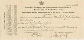 Nederland, Leiden, betalingsbewijs vereniging Onderofficieren en minderen van het Nl. leger. 1908