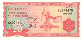 Burundi P27.c 20 Francs 1995