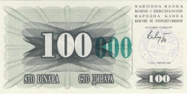 Bosnië-Herzegovina P056c 100.000 Dinara 1993 UNC