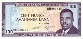 Burundi P29.c 100 Francs 1977-93