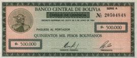 Bolivia  P189 500.000 Pesos Bolivianos 1984