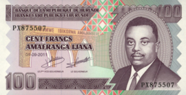 Burundi P44.b 100 Francs 2008 issue