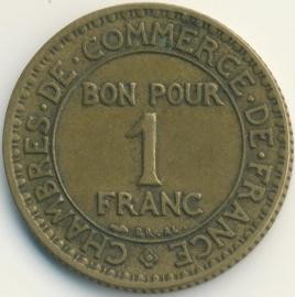 Frankrijk 1 Franc KM876 1924 open 4
