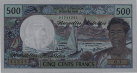 Nieuwe Hebriden  P19c 500 Francs 1970-80