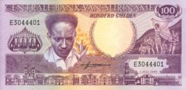 Suriname P133 ELM.S8057 B519a2 100 Gulden 1986-88