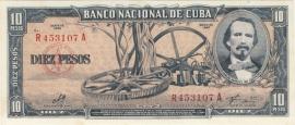 Cuba P88.c 10 Pesos 1960 UNC-