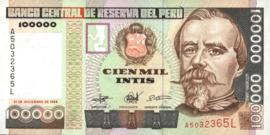 Peru P145 100.000 Intis 1989
