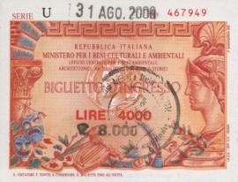 Italy - Toegangsbewijzen - Biglietto D'Ingresso  4000 Lire 2000
