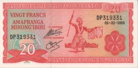 Burundi P27.d 20 Francs 1977-2007