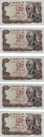 Spanje P152 100 Pesetas 1970 [5 stuks opvolgend]