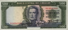 Uruguay P48.e 500 Pesos 1967 (No date)