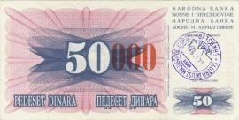 Bosnië-Herzegovina P055d 50.000 Dinara 1993 VF/XF