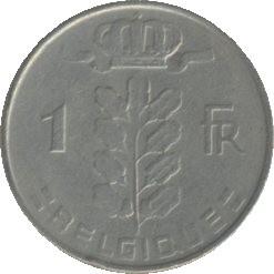 Belgique KM142.1 1 Franc 1950-1988