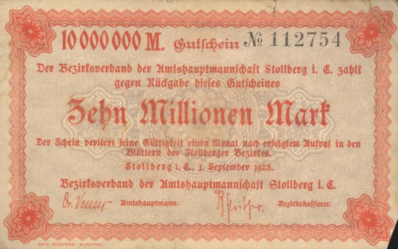 Stollberg 4892.e 10.000.000 Mark 1923