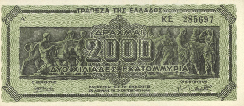 Griekenland P133.a 2.000.000.000 ΔΡΑΧΜΑΙ / Drachmes / Drachmai 1944-10-11