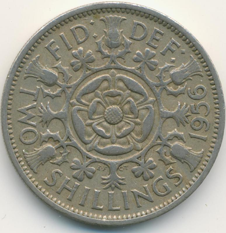 Engeland 2 Shillings (Florin) 1956 KM# 906