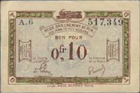 Belgisch - Franse spoorwegen. Bezetting Reinland. RPR-57.a 0,10 Franc 1923-1930 (No date)