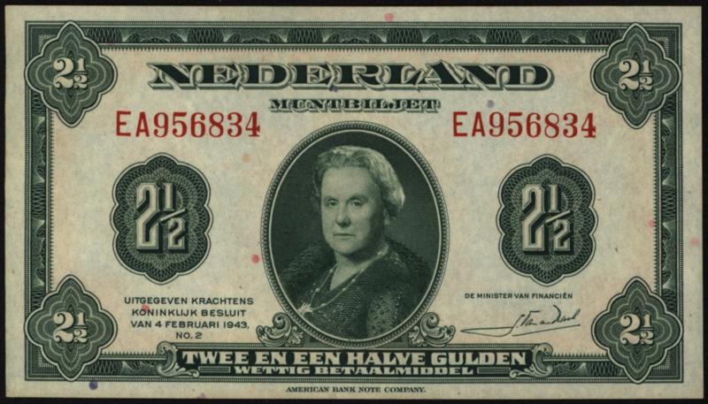 PL15: 2½ Gulden 4-2-1943 XF