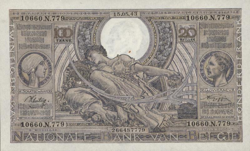 België P112 100 Francs / 20 Belgas 1941-1943