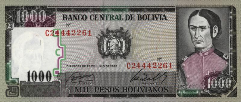Bolivia  P167 1.000 Pesos Bolivianos 1982